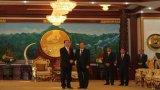 Bộ trưởng Trần Đại Quang chào xã giao Tổng Bí thư, Thủ tướng Lào