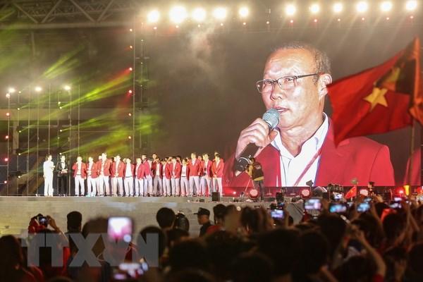 Huấn luyện viên trưởng đội tuyển bóng đá nam Olympic Việt Nam Park Hang-seo phát biểu tại Lễ vinh danh. (Ảnh: Trọng Đạt/TTXVN)