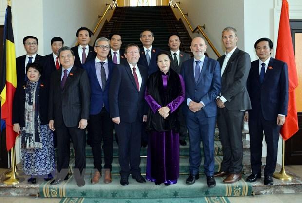 Chủ tịch Quốc hội Nguyễn Thị Kim Ngân, Chủ tịch Hạ viện Bỉ Siegfried Bracke và các đại biểu chụp ảnh chung. (Ảnh: Trọng Đức/TTXVN)