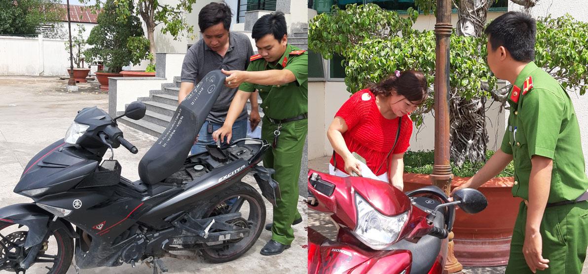 Công an huyện Đức Huệ trả xe mô tô cho anh Tuấn và chị Linh