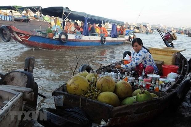 Một góc chợ nổi Cái Răng ở Cần Thơ (Nguồn: VNA)