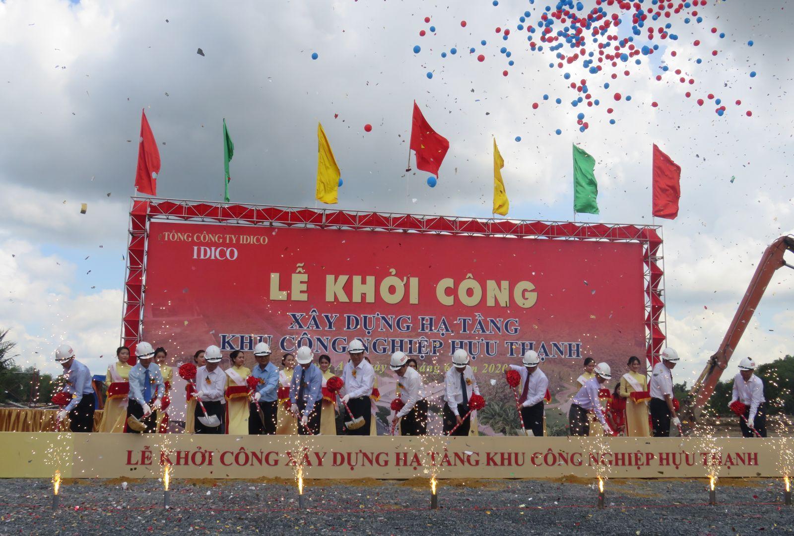 Delegates perform the groundbreaking ceremony