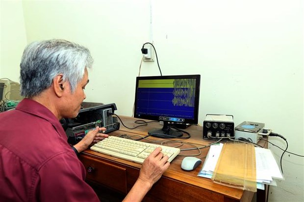 Data of the earthquake in Lai Chau province is being shown on a computer screen (Photo: VNA)