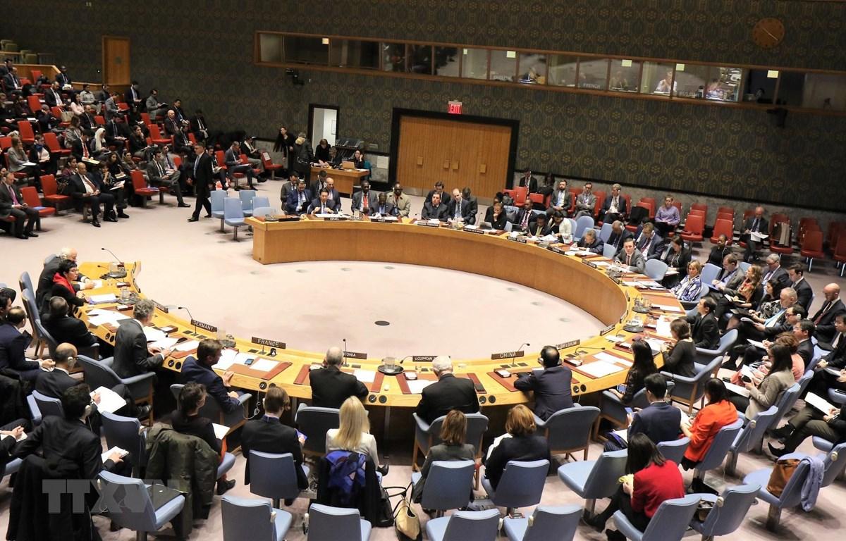 Toàn thể phiên thảo luận mở của Hội đồng Bảo an (ngày 21/1 tại trụ sở Liên hợp quốc ở New York, Mỹ) về vấn đề Palestine-Israel do Việt Nam chủ trì trên cương vị Chủ tịch Hội đồng Bảo an Liên hợp quốc. (Ảnh: Khắc Hiếu/TTXVN)