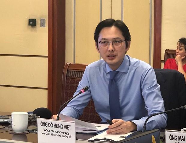 Ông Đỗ Hùng Việt, Vụ trưởng Vụ Các tổ chức quốc tế (Bộ Ngoại giao) phát biểu tại hội nghị. (Ảnh: P. Mai/Vietnam+)