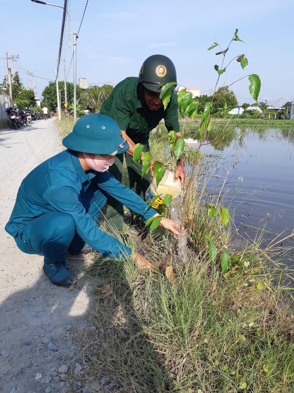 Lực lượng dân quân tự vệ huyện Đức Hòa trồng cây xanh trên đường giao thông nông thôn
