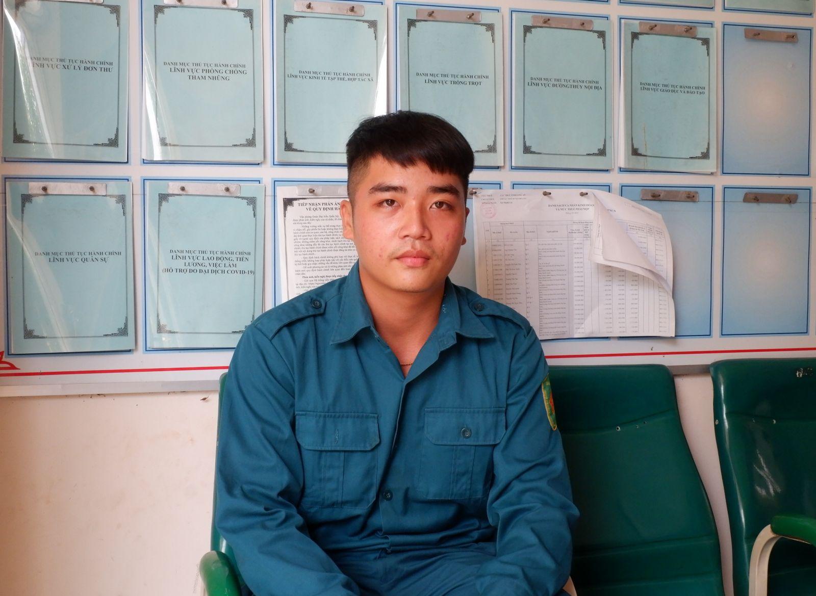 Nguyễn Hoài Tâm, dân quân thường trực trẻ tiêu biểu xã Thạnh Lợi, huyện Bến Lức