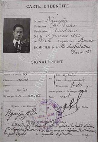 Thẻ căn cước của Nguyễn Ái Quốc ở Paris (Pháp) năm 1919. (Ảnh: Tư liệu/TTXVN phát)