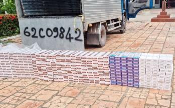 Đồn Biên phòng Bến Phố phát hiện 1 xe tải chở thuốc lá không rõ nguồn gốc