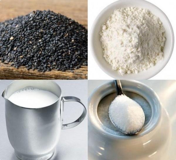 Các nguyên liệu chính để nấu chè mè đen (Ảnh: ameovat.com)