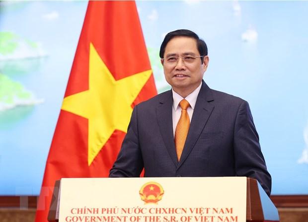 Thủ tướng Chính phủ Phạm Minh Chính phát biểu tại Hội nghị thượng đỉnh thương mại dịch vụ toàn cầu năm 2021 theo hình thức ghi hình. (Ảnh: Dương Giang/TTXVN)