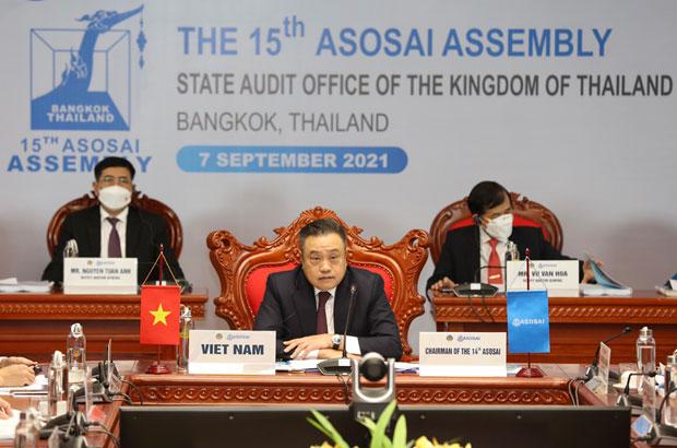Tổng Kiểm toán Nhà nước Việt Nam, Trần Sỹ Thanh chủ trì điều hành Hội nghị. (Ảnh: Vietnam+)
