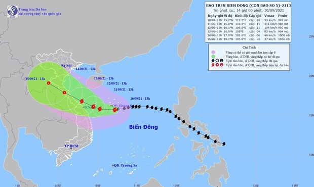 Map on the route of Typhoon Conson (Source: VNA)