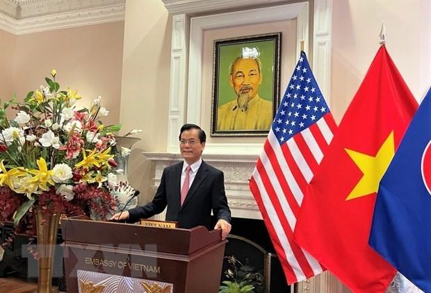 Vietnamese Ambassador Ha Kim Ngoc addresses the virtual ceremony (Photo: VNA)
