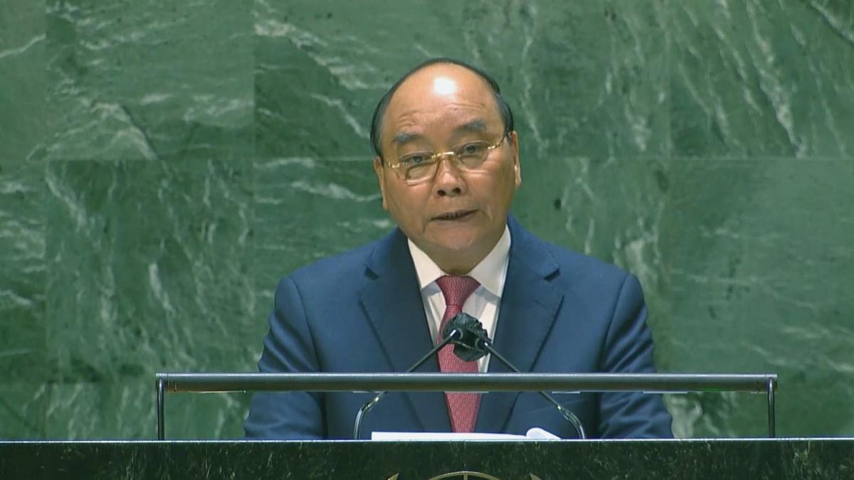 Chủ tịch nước Nguyễn Xuân Phúc phát biểu tại Phiên thảo luận chung Cấp cao Khoá họp 76 Đại hội đồng LHQ