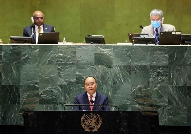Chủ tịch nước Nguyễn Xuân Phúc phát biểu tại Phiên thảo luận Cấp cao Đại hội đồng Liên hợp quốc lần thứ 76. (Ảnh: Thống Nhất/TTXVN)