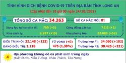 Ngày 24/10, Long An ghi nhận 81 ca mắc Covid-19 mới